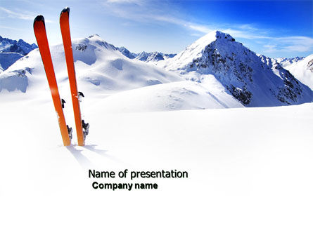 Sports: Skis PowerPoint Template #04169