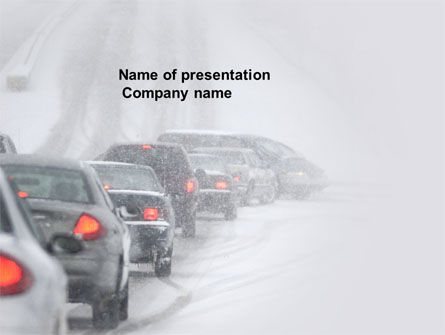Cars and Transportation: Snowstorm PowerPoint Template #04185