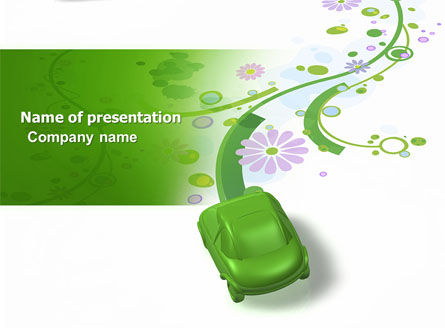 Green Car PowerPoint Template, 04204, Nature & Environment — PoweredTemplate.com