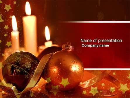 Holiday/Special Occasion: Christmas Decorations And Candles PowerPoint Template #04211