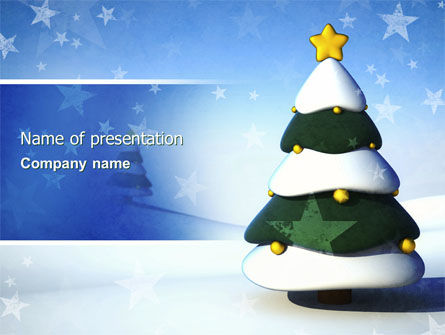 Holiday/Special Occasion: Christmas Tree On The Blue Snow PowerPoint Template #04231