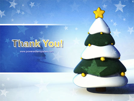 Christmas Tree On The Blue Snow PowerPoint Template Slide 20