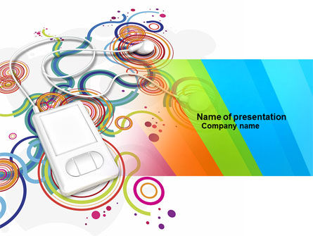 Technology and Science: Mp3 Player On Colored Background PowerPoint Template #04242