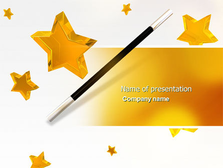 Holiday/Special Occasion: Magic Wand And Magician's Hat PowerPoint Template #04270