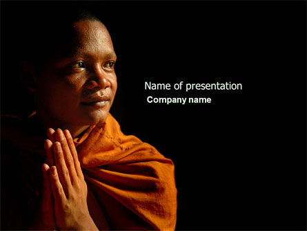 Buddhist Monk PowerPoint Template, 04319, Religious/Spiritual — PoweredTemplate.com