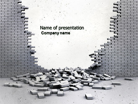 Broken Wall PowerPoint Template, 04351, Consulting — PoweredTemplate.com