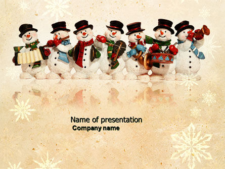 Snowmen Orchestra PowerPoint Template, 04354, Holiday/Special Occasion — PoweredTemplate.com
