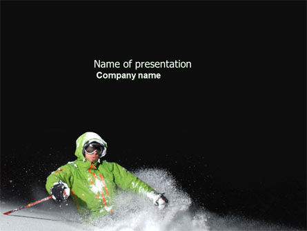 Sports: Xtreme Mountain Skiing PowerPoint Template #04360