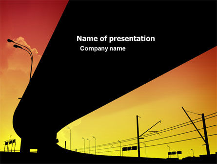 Construction: Sunset Overpass On A Highway PowerPoint Template #04368