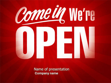 We Are Open PowerPoint Template, 04405, Careers/Industry — PoweredTemplate.com