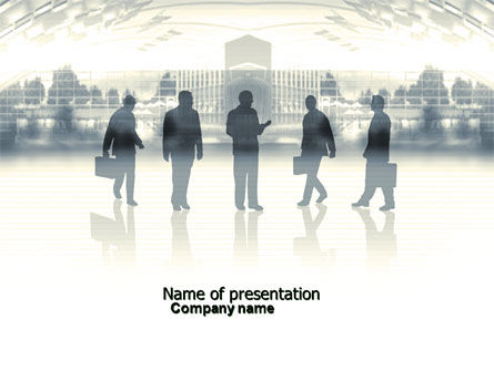 Business: Silhouettes Of Office Workers PowerPoint Template #04416