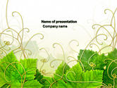Nature & Environment: Grape Leaves Ornament PowerPoint Template #04421
