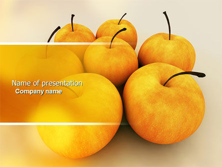 Yellow Apples PowerPoint Template, 04439, Agriculture — PoweredTemplate.com
