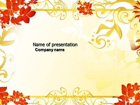 Autumn Theme With Red Leaves PowerPoint Template