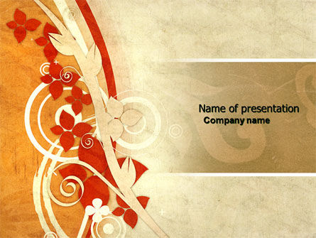 Orange Floral Theme PowerPoint Template