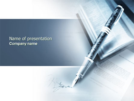 Signature In A Blue Colors PowerPoint Template, 04486, Business — PoweredTemplate.com