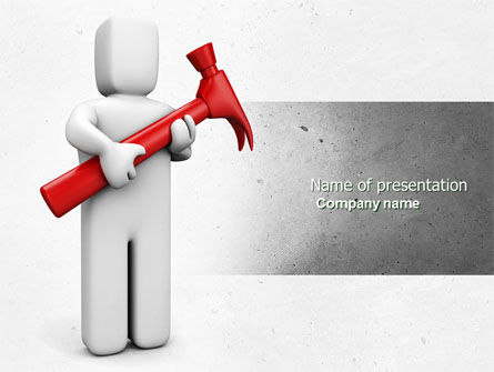 Utilities/Industrial: Hammer Man PowerPoint Template #04496