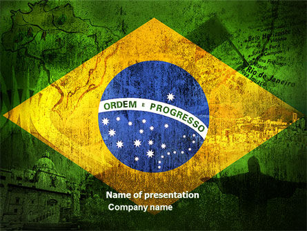 Brazilian Flag With Brazilian Silhouettes PowerPoint Template, 04538, Flags/International — PoweredTemplate.com