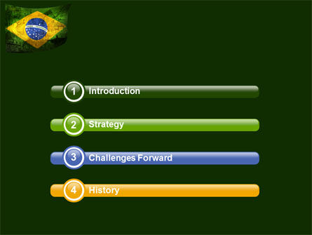 Brazilian Flag With Brazilian Silhouettes PowerPoint Template, Slide 3, 04538, Flags/International — PoweredTemplate.com