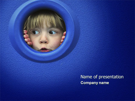 People: Kid Looking In Porthole PowerPoint Template #04566