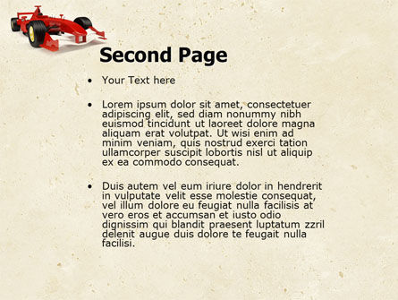 Formula One Car PowerPoint Template, Slide 2, 04571, Sports — PoweredTemplate.com
