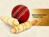 Sports: Cricket Ball PowerPoint Template #04662