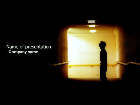 People: Man In Tunnel PowerPoint Template #04686