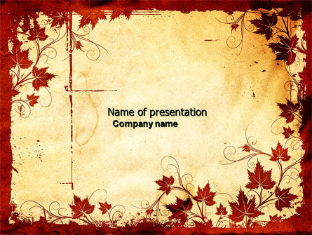 Vine Leaves Frame PowerPoint Template, 04687, Abstract/Textures — PoweredTemplate.com