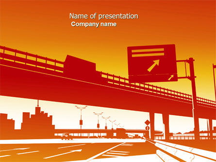 Construction: Road Way PowerPoint Template #04692