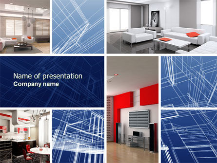 Interior Design In 3D Modeling PowerPoint Template Backgrounds
