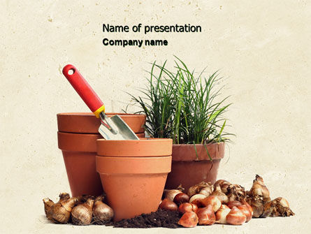 Pot Flowers PowerPoint Template, 04710, Careers/Industry — PoweredTemplate.com