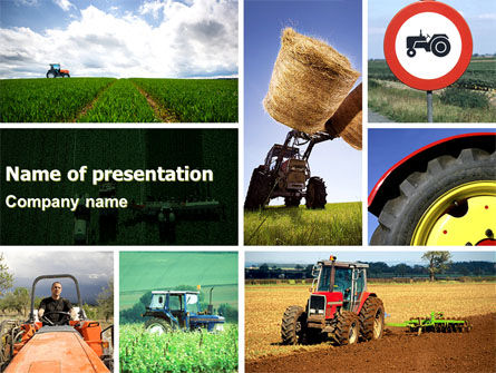 Agriculture: Tractor Collage PowerPoint Template #04733