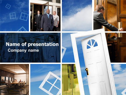 Open Doors In Collage PowerPoint Template
