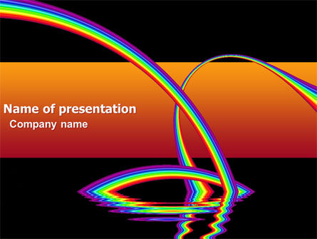 Rainbow On A Black Orange Background PowerPoint Template, 04755, Education & Training — PoweredTemplate.com