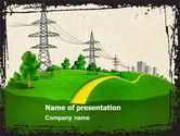 Careers/Industry: Electric Power Line PowerPoint Template #04777