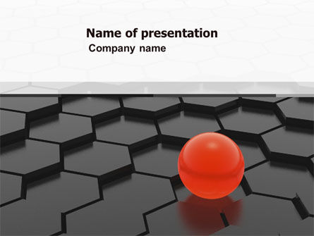 Red Ball On Cells PowerPoint Template, 04784, Business Concepts — PoweredTemplate.com