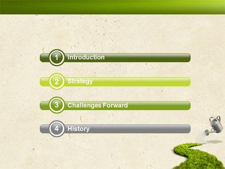 Green Path PowerPoint Template, Slide 3, 04785, Nature & Environment — PoweredTemplate.com