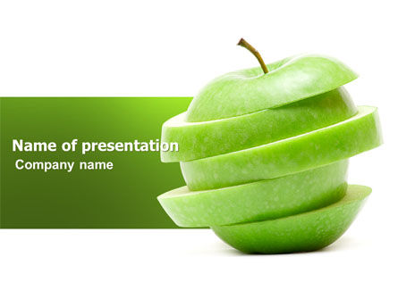 Sliced Green Apple PowerPoint Template, 04794, Food & Beverage — PoweredTemplate.com