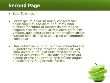 Sliced Green Apple PowerPoint Template, Slide 2, 04794, Food & Beverage — PoweredTemplate.com