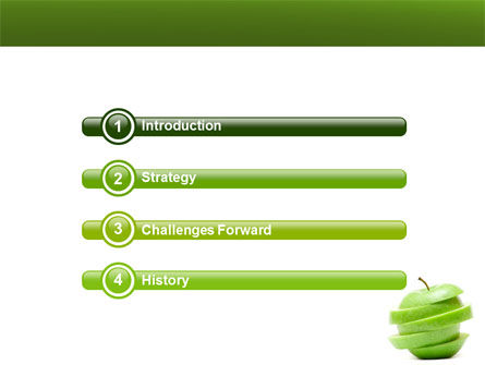 Sliced Green Apple PowerPoint Template, Slide 3, 04794, Food & Beverage — PoweredTemplate.com