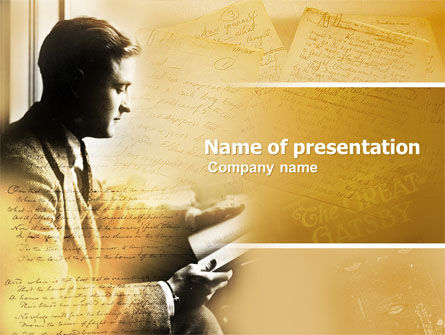 Art & Entertainment: Scott Fitzgerald PowerPoint Template #04817