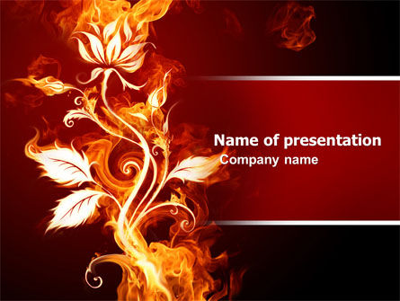 Flaming Flower PowerPoint Template, 04828, Abstract/Textures — PoweredTemplate.com
