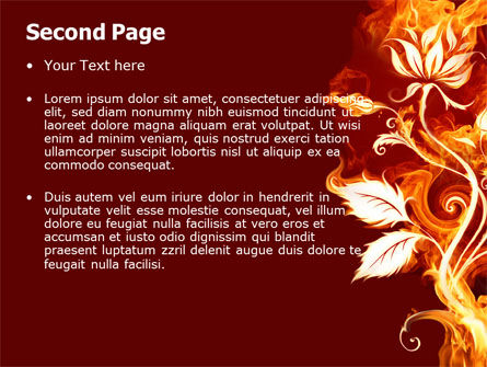 Flaming Flower PowerPoint Template, Slide 2, 04828, Abstract/Textures — PoweredTemplate.com