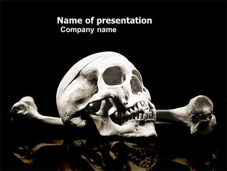 skull and bone powerpoint template, backgrounds | 04834, Modern powerpoint