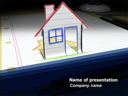 Drawn House PowerPoint Template, 04838, Real Estate — PoweredTemplate.com