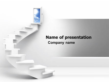 Stairway To Exit PowerPoint Template, 04849, Careers/Industry — PoweredTemplate.com