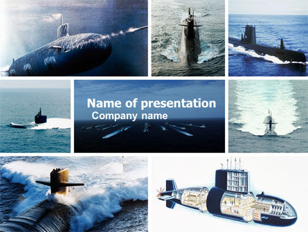 Military: Submarine PowerPoint Template #04850