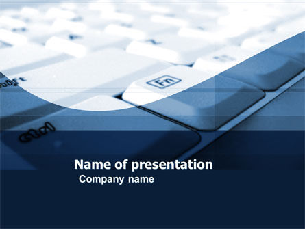 Computers: White Keyboard In A Blue Color PowerPoint Template #04878