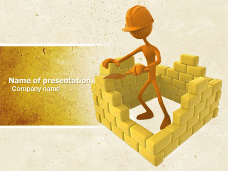 Construction: Mason At Work PowerPoint Template #04879