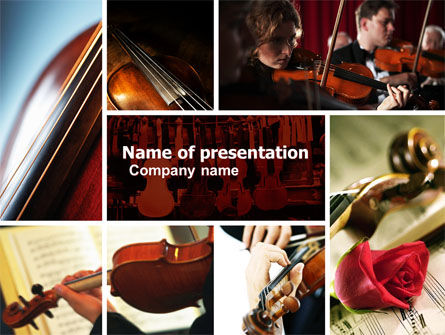 Art & Entertainment: Violin Collage PowerPoint Template #04918